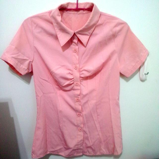 (二手)淡粉色短袖襯衫