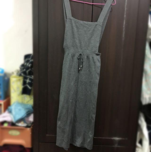 針織吊帶開叉長裙
