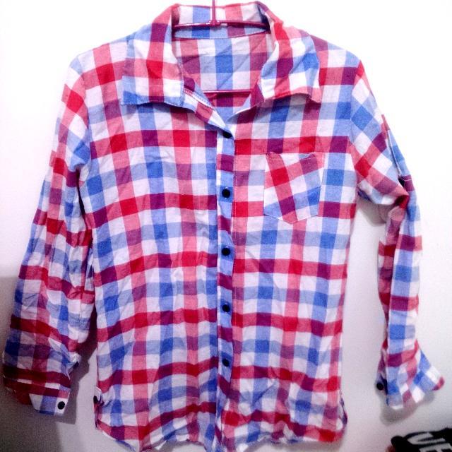 (全新)紅藍百格長袖襯衫