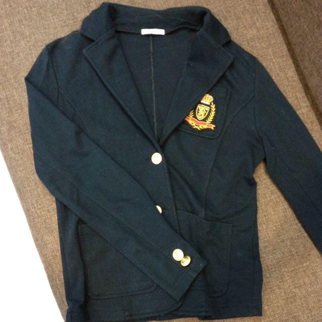 日貨 深藍學院風西裝外套