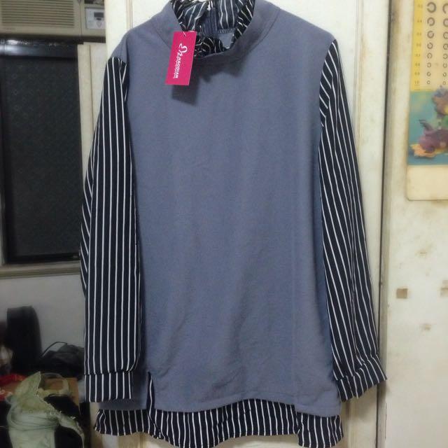 全新 灰色毛呢黑色條紋雪紡長袖 長版上衣