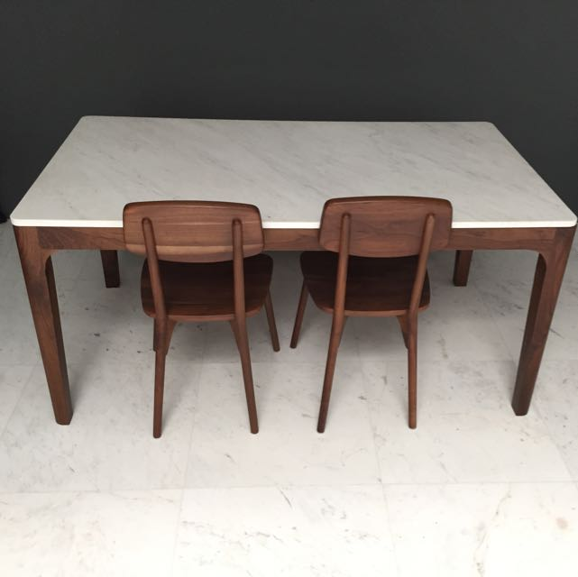 Air Marble And Walnut Wood Dining Table Set Furniture On Carousell
