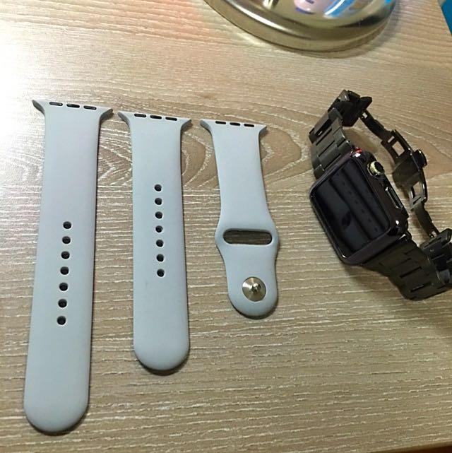 Apple Watch 42mm運動錶帶-灰色