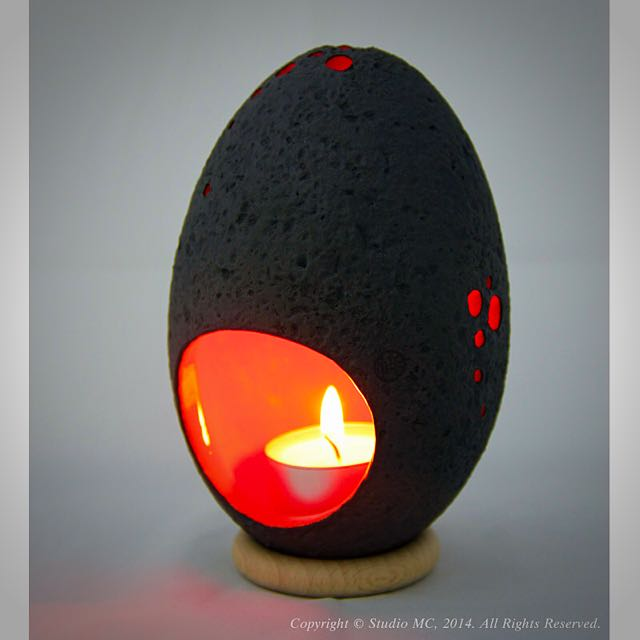 Handcrafted Ceramic Salted-Egg Lantern© - Black/Orange