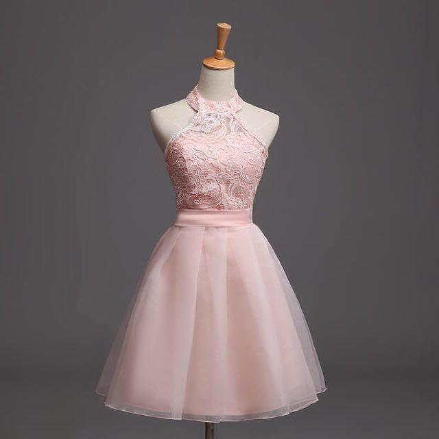 Pink Halter Tulle Dress