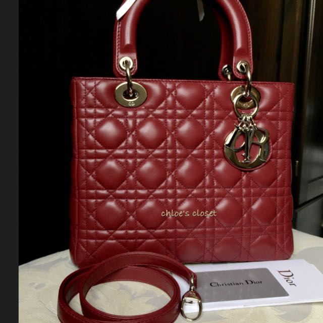 f4525c7c5d Preloved Red Medium Lambskin Lady Dior With SHW, Luxury on Carousell