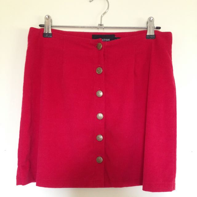 Red Minkpink Corduroy High Waisted Mini Skirt