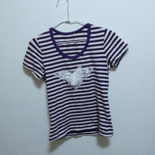 (二手)紫白條紋T恤