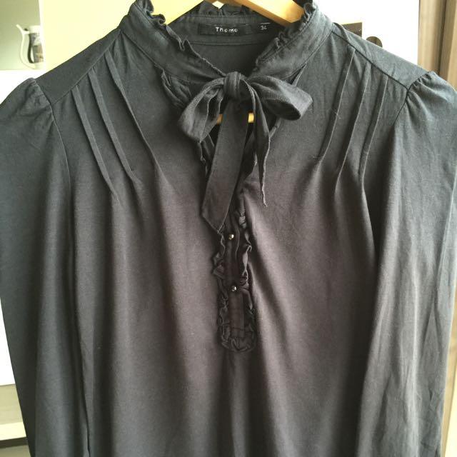 Theme荷葉領棉質上衣