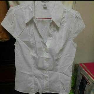 全新Dalia嚴選深v白色無袖襯衫