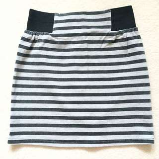 Valleygirl Grey And Black Stripe Tube Skirt