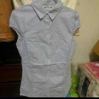 全新淺藍直條紋OL微袖襯衫