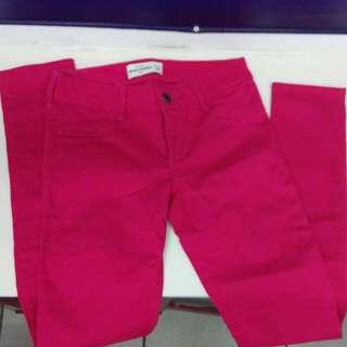 Abercrombie & Fitch A&F 牛仔褲24腰 粉色 童裝 全新 正品