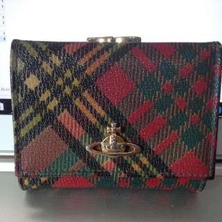 Vivienne Westwood蘇格蘭格紋龐克珠扣皮夾
