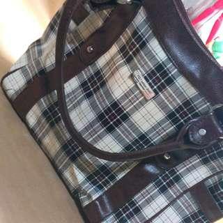 蘇格蘭紋 白色格子 側背包 二手 可放A4