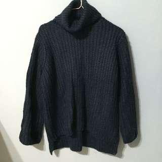 降價❗️全新 高領針織長袖衣 深藍色