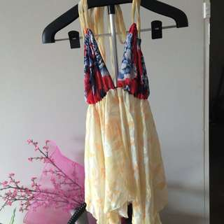 Yellow And Red Floral Top