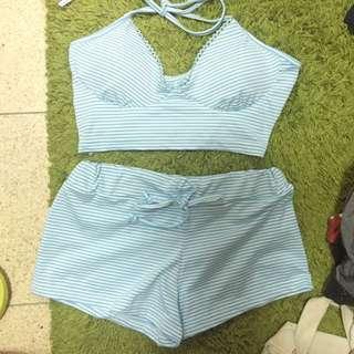 (免運)綁帶兩件式泳衣