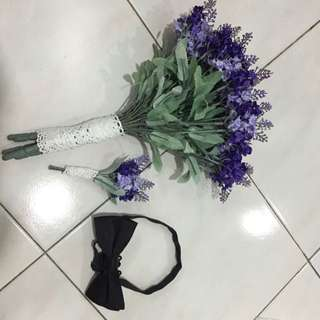 Korea Handmade Lavender bouquet and corsage
