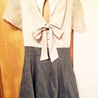 氣質雪紡大蝴蝶結格子洋裝 日本購回 日貨