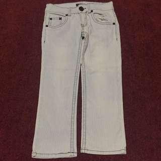 牛仔條紋七分褲