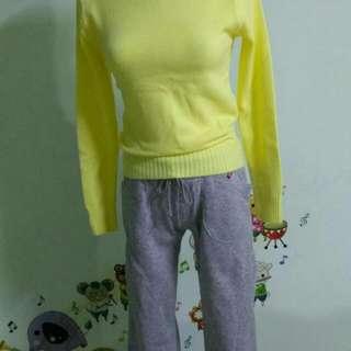 黃色針織衣 S 長褲(內有刷毛)S