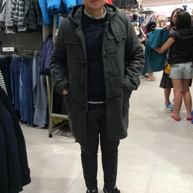 誠徵 GU 牛角扣外套 男 灰S  2015版