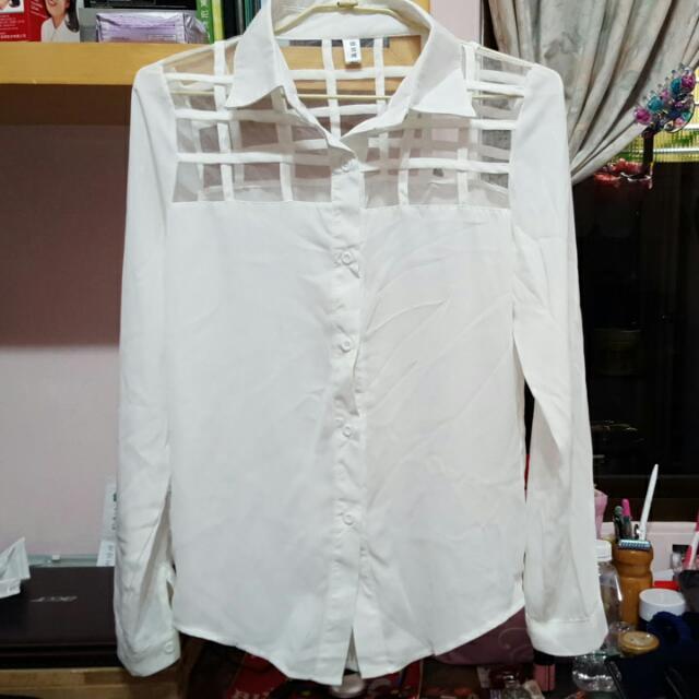 方格網紗相間 白色雪紡襯衫