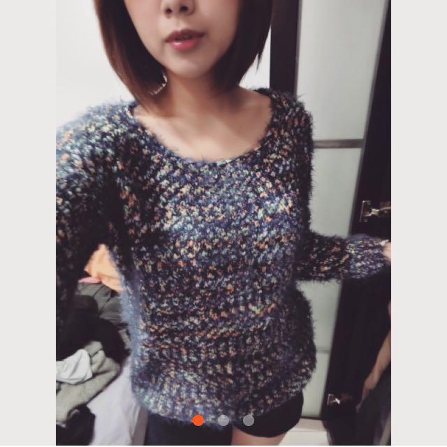 彩色毛線衣 毛衣 針織上衣