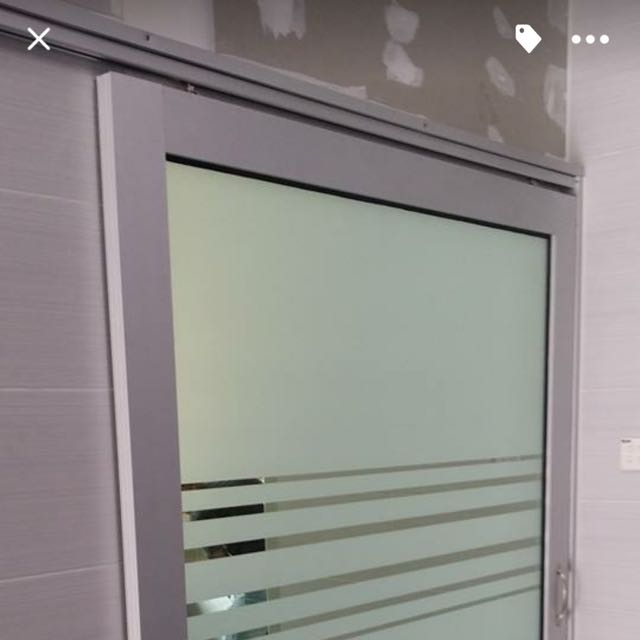 Aluminium Sliding Door Top Railing With Sand Glass Tinted