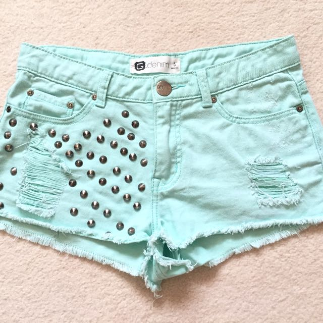 Glassons Studded Pastel Green Shorts