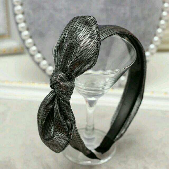 銀灰色亮絲蝴蝶結髮箍