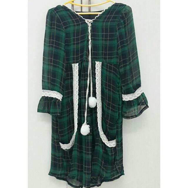Tartan Green Lace Mini Dress