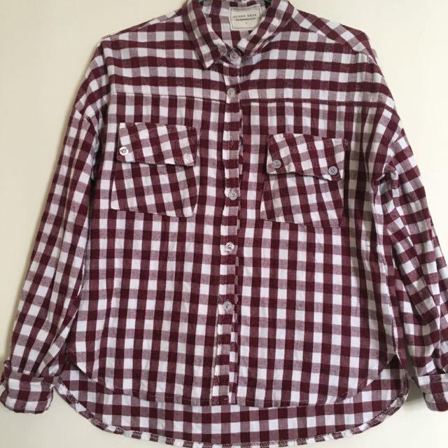 Queenshop 雙口袋酒紅前短後長寬版棉質襯衫