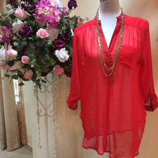I.N. San Francisco Red sheer shirt