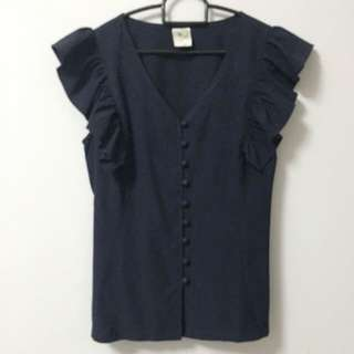 Navy Blue Ruffled Shoulder Top