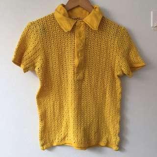 Vintage Crochet Yellow Shirt