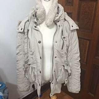 日本 N2B鋪棉禦寒防風毛毛帽子縮口灰色大衣 外套