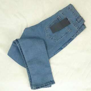全新✨高腰S號水洗淺色牛仔褲