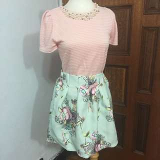 日本 正品oneway 粉色甜美羅紋珍珠上衣(整套裙+衣)