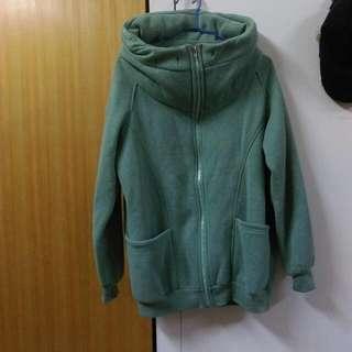(二手)淺綠色連帽大口袋棉質外套