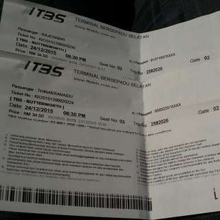 Bus Ticket From TBS To Butterworth