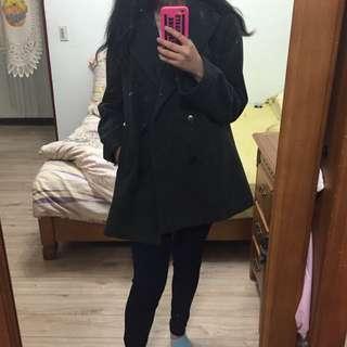 Comme Ca Ism 日本深灰色雙排扣毛呢大衣外套