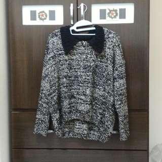 (保留中)黑白混色毛衣 領子 前短後長