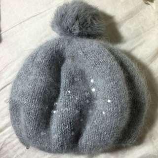 兔毛毛灰毛帽