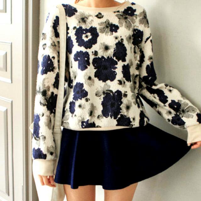 韓版藍花毛衣