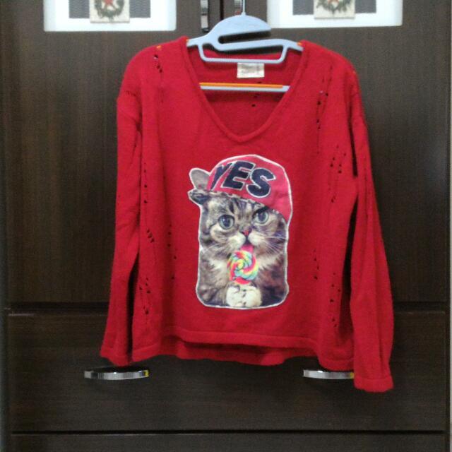 (降價)紅色貓造型毛衣