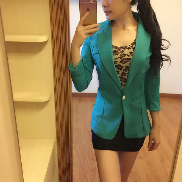 俐落剪裁西裝外套(綠)