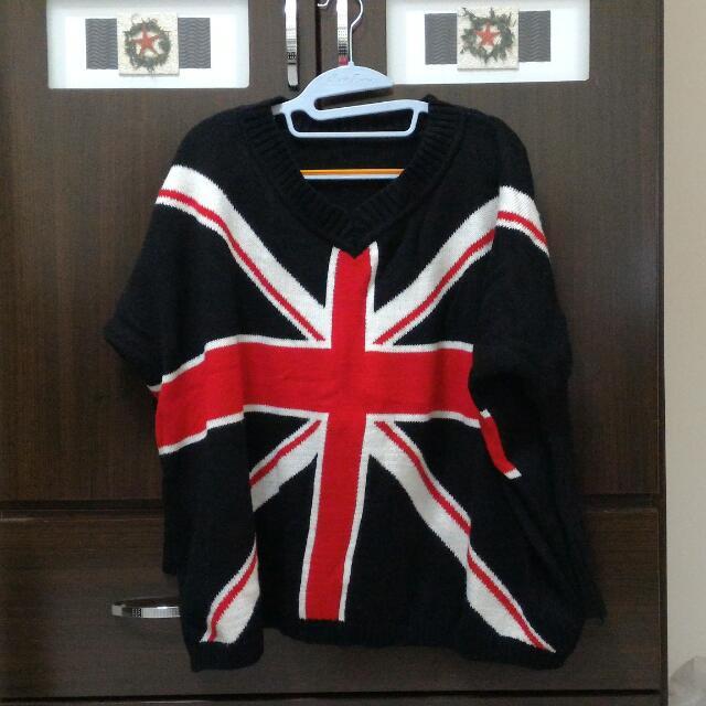 (保留中)黑色英國國旗飛鼠袖毛衣