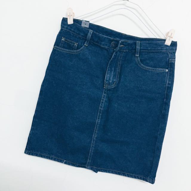 全新-復古牛仔高腰包臀半身裙